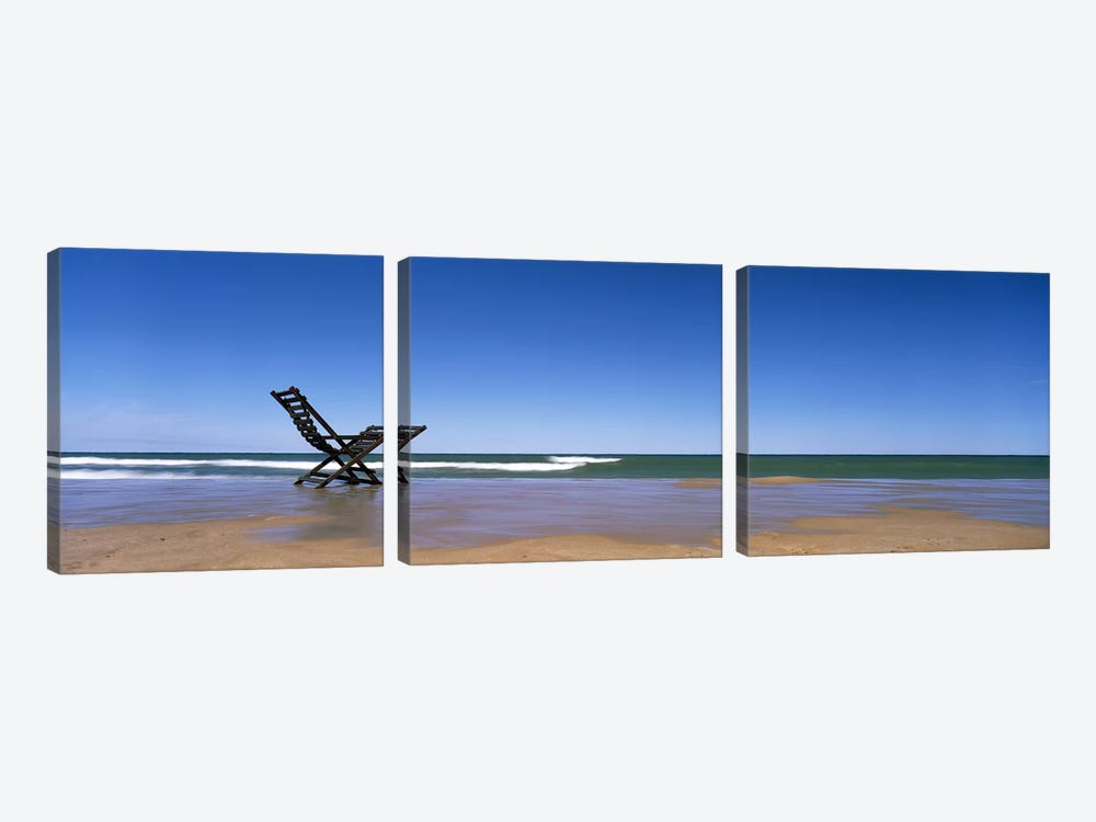 Empty Chair On A Beach, Grand Haven, Ottawa County, Michigan, USA by Panoramic Images 3-piece Canvas Art Print
