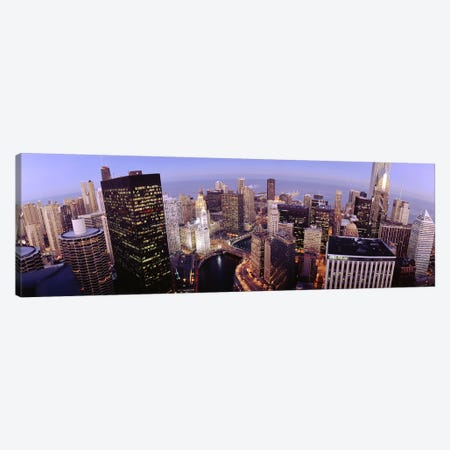 USA, Illinois, Chicago, Chicago River, High angle view of the city Canvas Print #PIM4666} by Panoramic Images Canvas Artwork