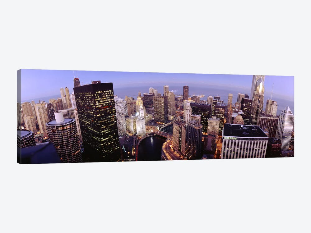 USA, Illinois, Chicago, Chicago River, High angle view of the city by Panoramic Images 1-piece Canvas Art