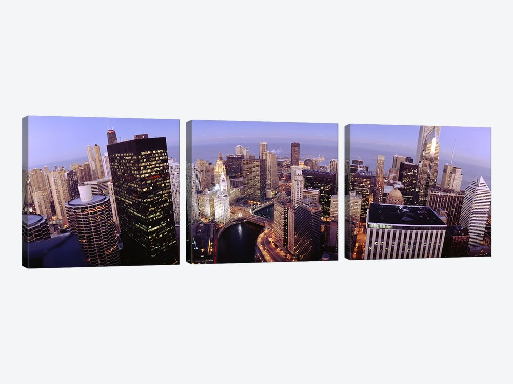 USA, Illinois, Chicago, Chicago River, High angle view of the city by Panoramic Images 3-piece Canvas Artwork