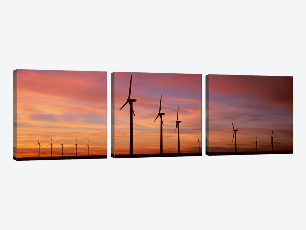 Wind Turbine In The Barren Landscape, Brazos, Texas, USA by Panoramic Images 3-piece Canvas Print