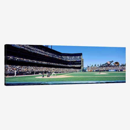 USA, California, San Francisco, SBC Ballpark, Spectator watching the baseball game in the stadium Canvas Print #PIM4669} by Panoramic Images Art Print