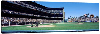USA, California, San Francisco, SBC Ballpark, Spectator watching the baseball game in the stadium Canvas Print #PIM4669
