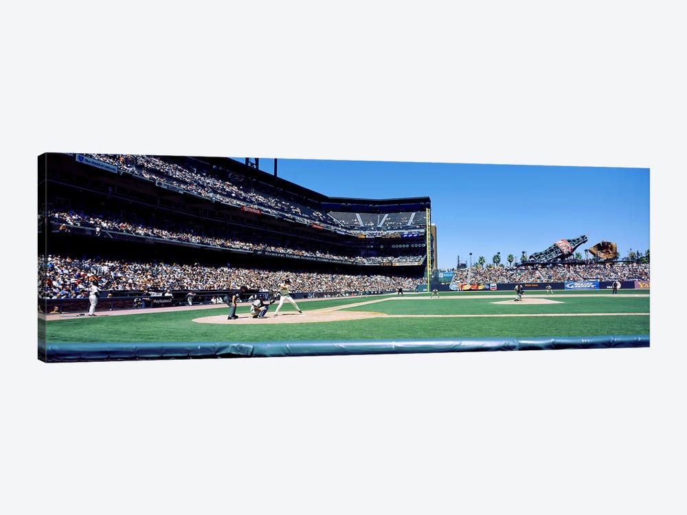 USA, California, San Francisco, SBC Ballpark, Spectator watching the baseball game in the stadium by Panoramic Images 1-piece Canvas Art Print