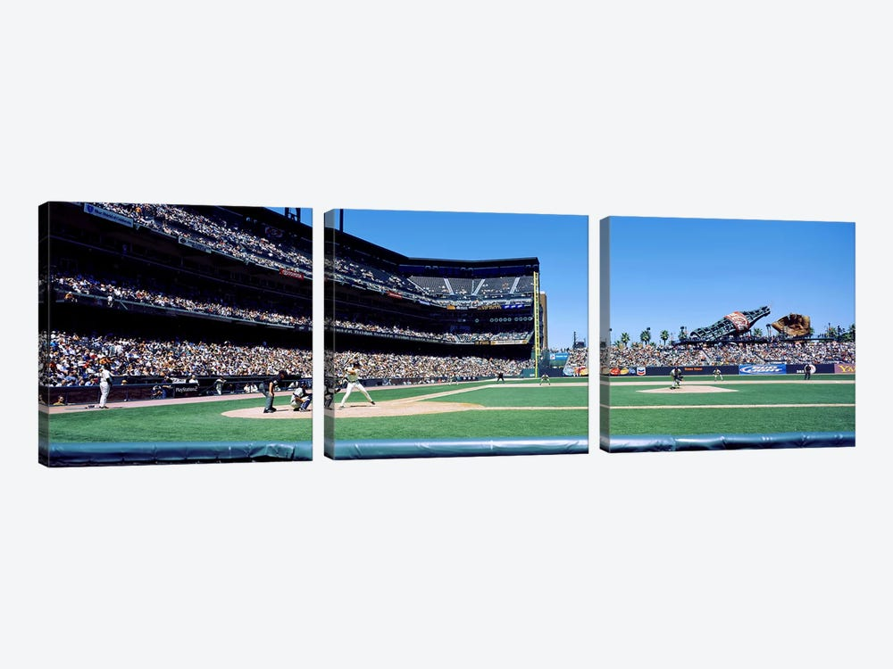 USA, California, San Francisco, SBC Ballpark, Spectator watching the baseball game in the stadium by Panoramic Images 3-piece Art Print