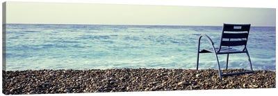 Vacant Chair On The Beach, Nice, Cote De Azur, France Canvas Art Print