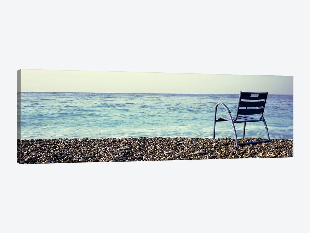 Vacant Chair On The Beach, Nice, Cote De Azur, France by Panoramic Images 1-piece Canvas Wall Art