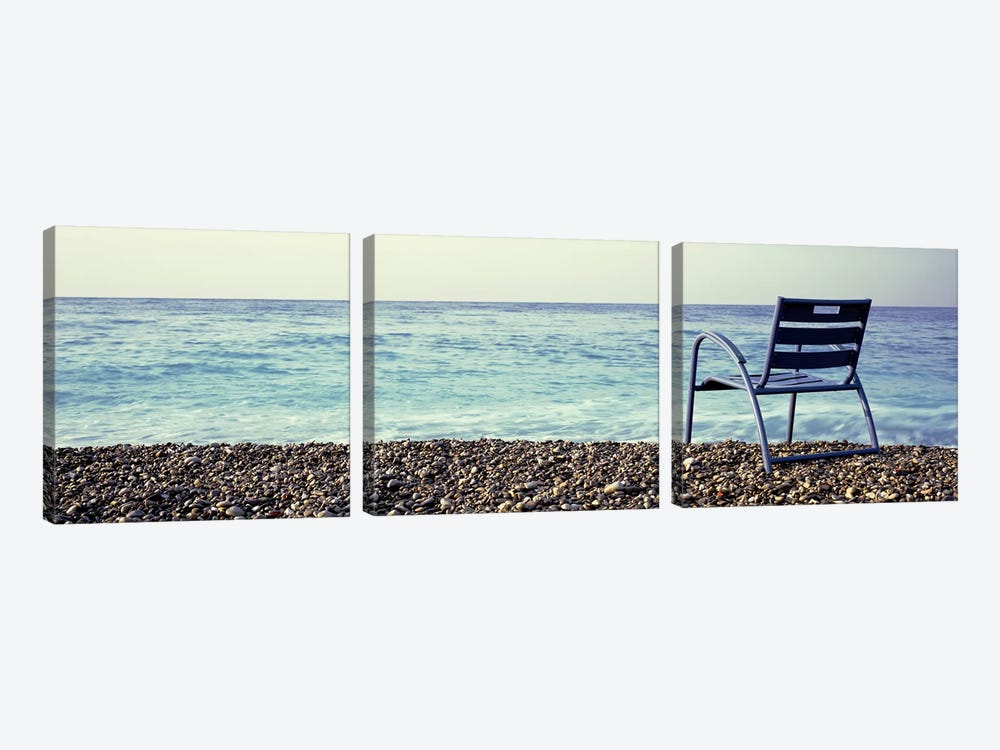 Vacant Chair On The Beach, Nice, Cote De Azur, France by Panoramic Images 3-piece Canvas Art