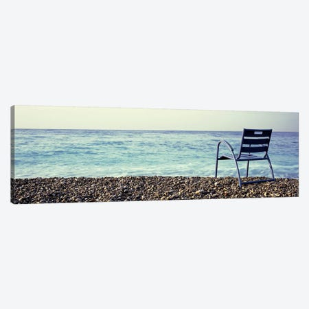 Vacant Chair On The Beach, Nice, Cote De Azur, France Canvas Print #PIM4671} by Panoramic Images Canvas Art