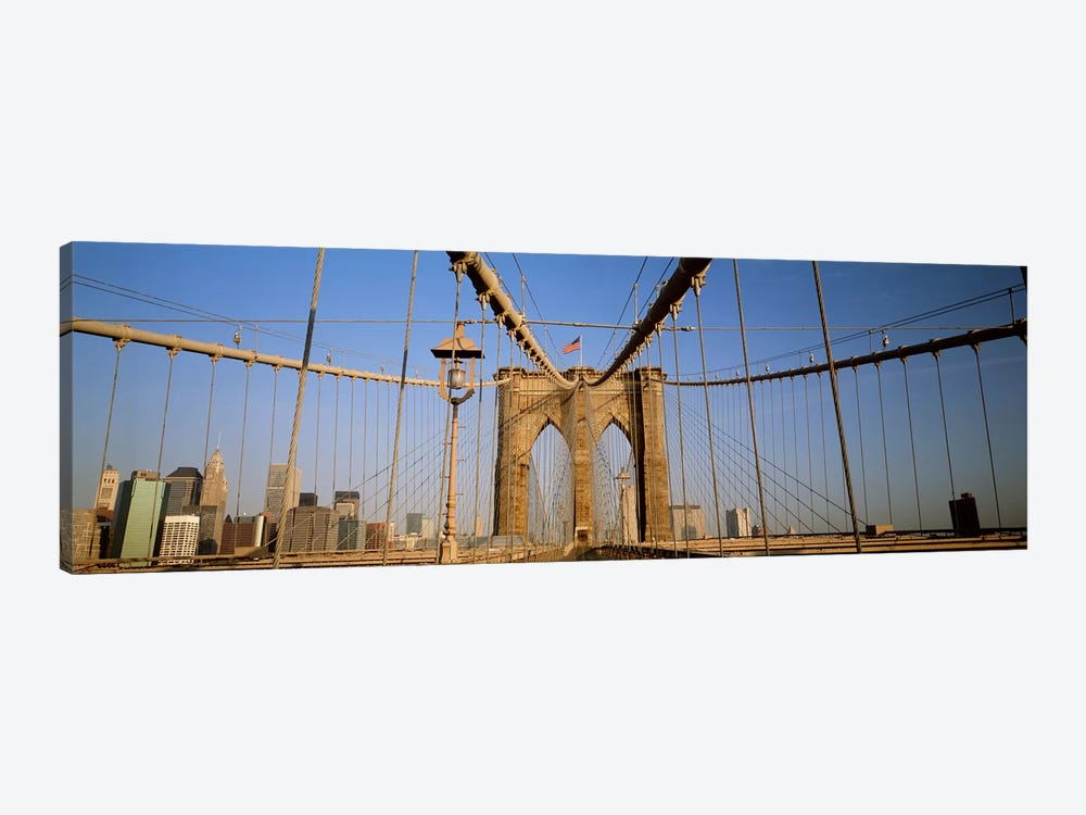 USA, New York State, New York City, Brooklyn Bridge at dawn by Panoramic Images 1-piece Canvas Wall Art