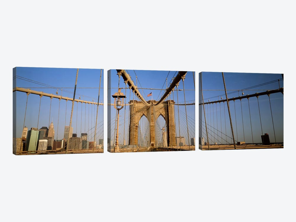 USA, New York State, New York City, Brooklyn Bridge at dawn 3-piece Canvas Wall Art