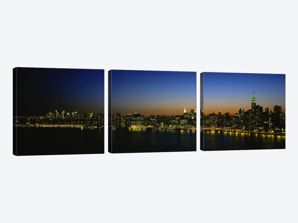 Illuminated Cityscape, New York City, New York, USA by Panoramic Images 3-piece Canvas Artwork