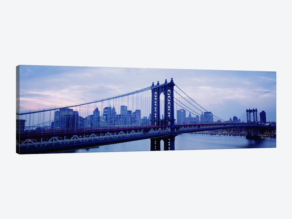 Skyscrapers In A City, Manhattan Bridge, NYC, New York City, New York State, USA by Panoramic Images 1-piece Canvas Art