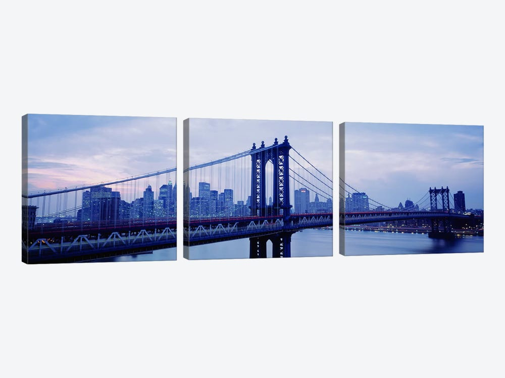 Skyscrapers In A City, Manhattan Bridge, NYC, New York City, New York State, USA by Panoramic Images 3-piece Canvas Art