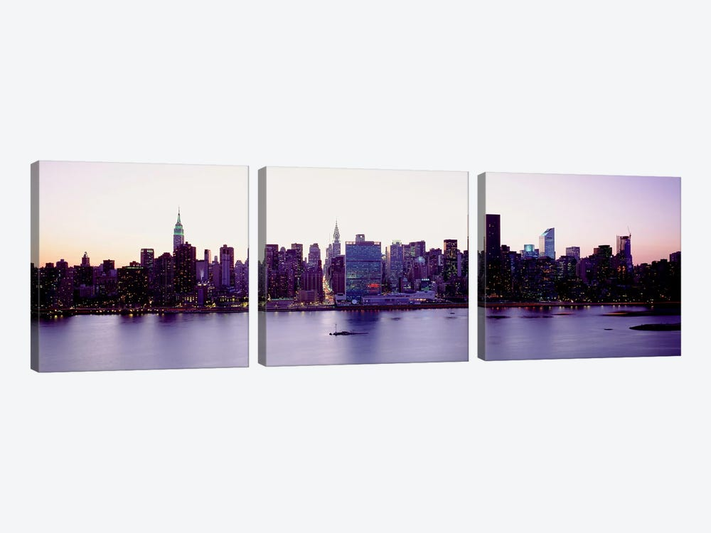 USANew York State, New York City, Skyscrapers in a city 3-piece Canvas Artwork