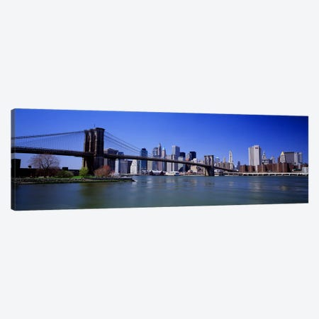 USA, New York State, New York City, Brooklyn Bridge, Skyscrapers in a city #2 Canvas Print #PIM4680} by Panoramic Images Art Print