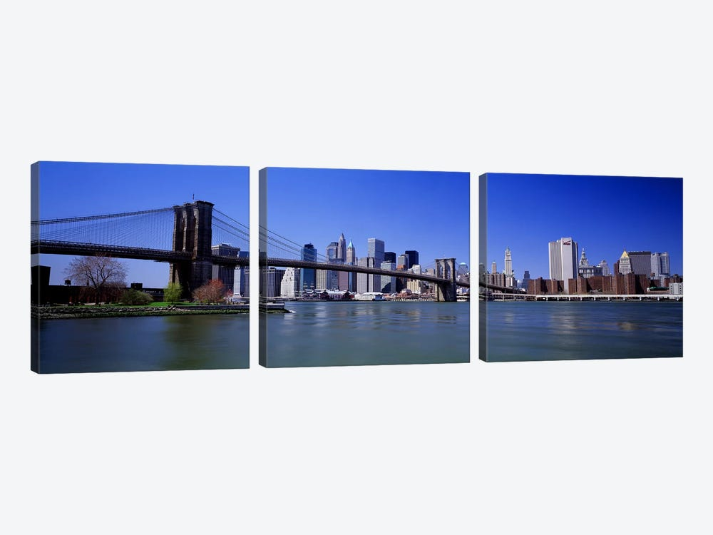 USA, New York State, New York City, Brooklyn Bridge, Skyscrapers in a city #2 by Panoramic Images 3-piece Canvas Art