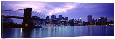 Skyscrapers In A City, Brooklyn Bridge, NYC, New York City, New York State, USA Canvas Print #PIM4681