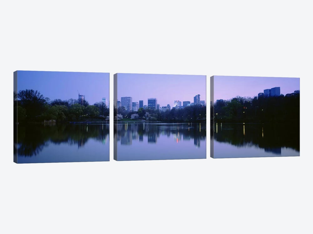USANew York State, New York City, Central Park Lake, Skyscrapers in a city by Panoramic Images 3-piece Canvas Wall Art