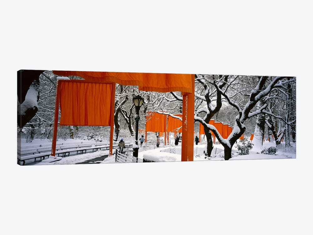 USANew York, New York City, Central Park, People walking in the The Gates 1-piece Canvas Art Print