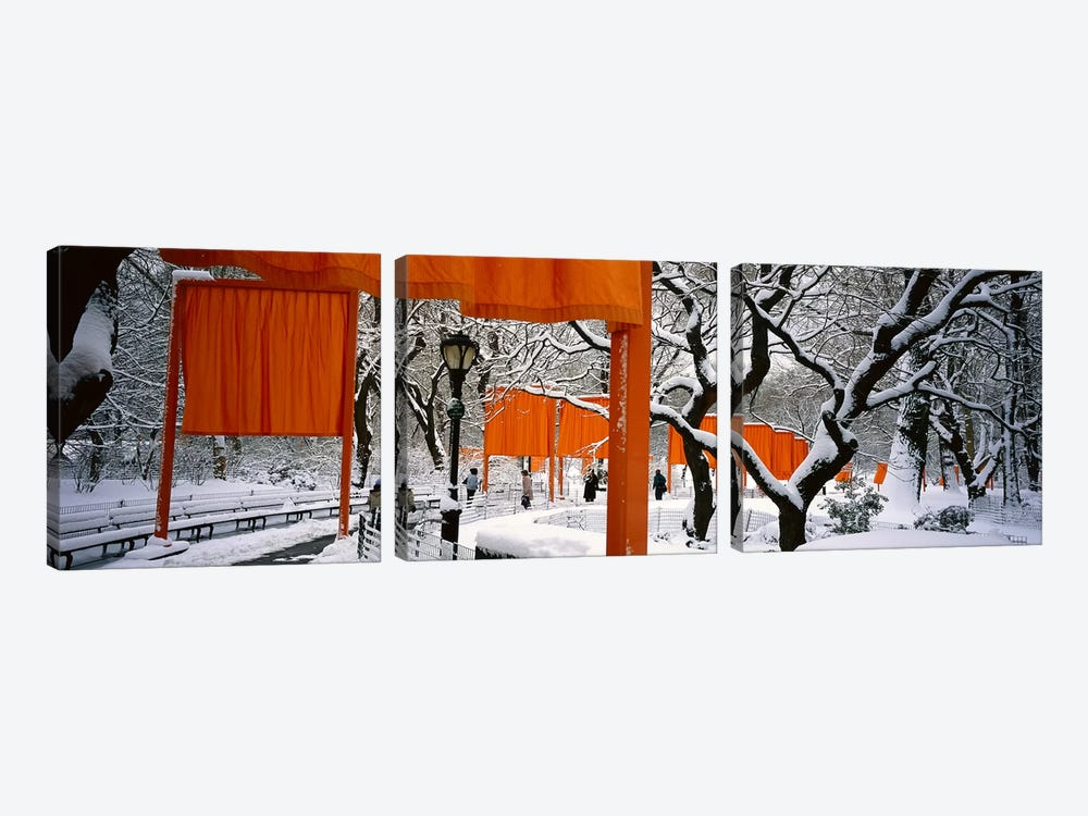 USANew York, New York City, Central Park, People walking in the The Gates 3-piece Canvas Print