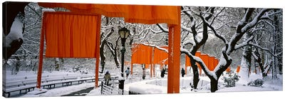 USANew York, New York City, Central Park, People walking in the The Gates Canvas Art Print
