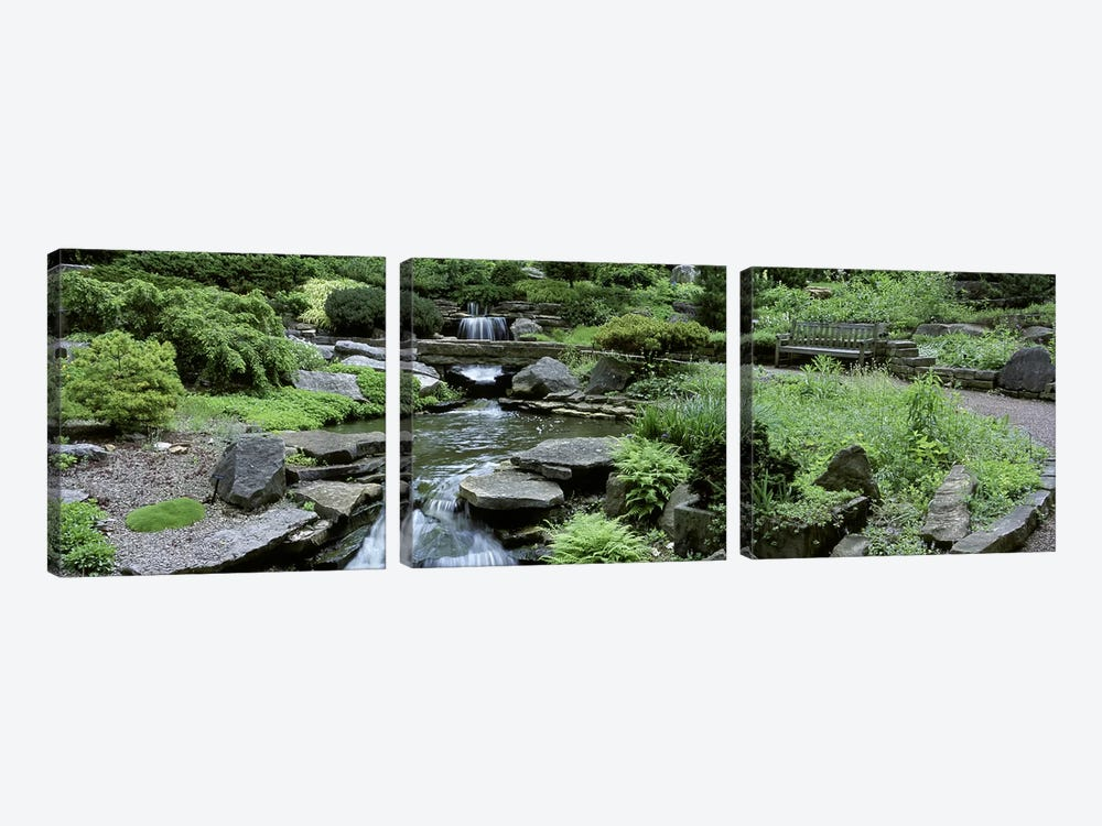 River Flowing Through A Forest, Inniswood Metro Gardens, Columbus, Ohio, USA by Panoramic Images 3-piece Canvas Print