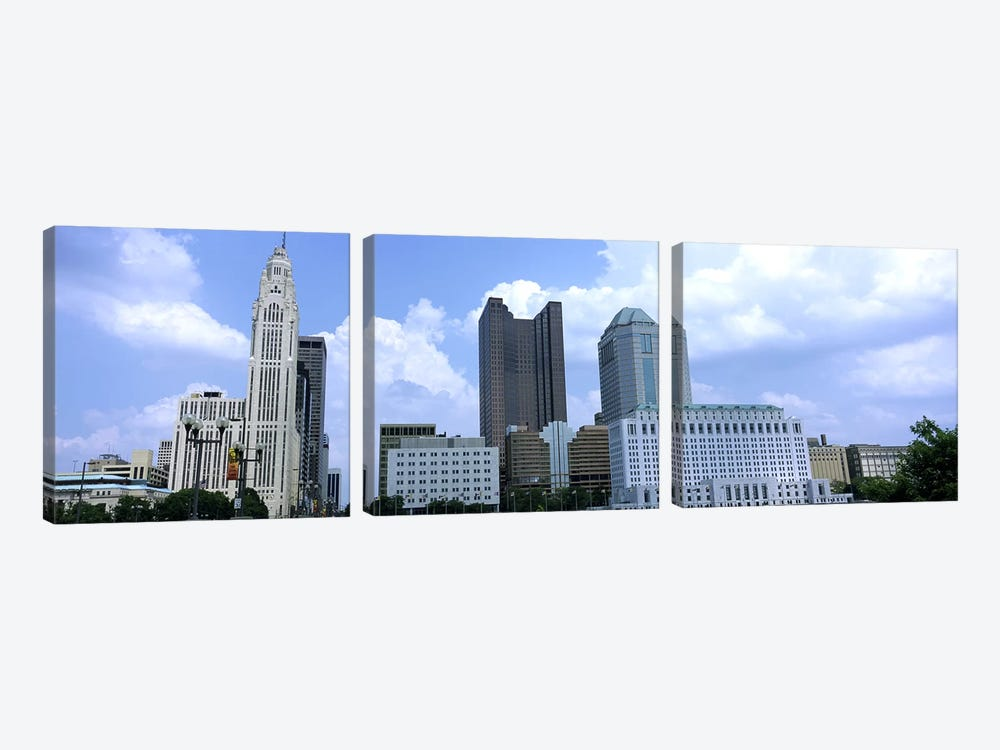 USA, Ohio, Columbus, Clouds over tall building structures 3-piece Canvas Artwork