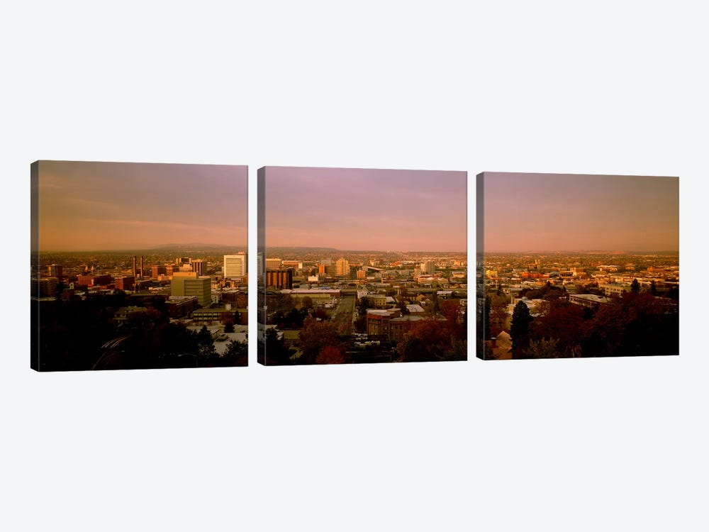 USA, Washington, Spokane, Cliff Park, High angle view of buildings in a city by Panoramic Images 3-piece Canvas Print
