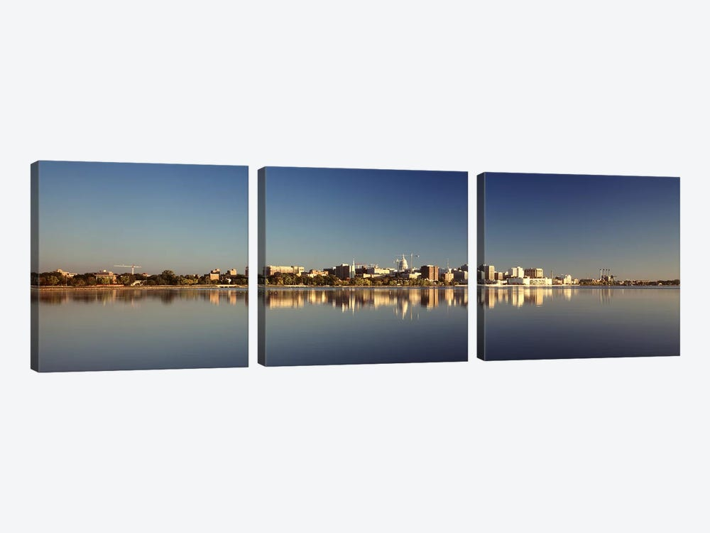 USA, Wisconsin, Madison, Lake Monona, City on a waterfront 3-piece Canvas Wall Art