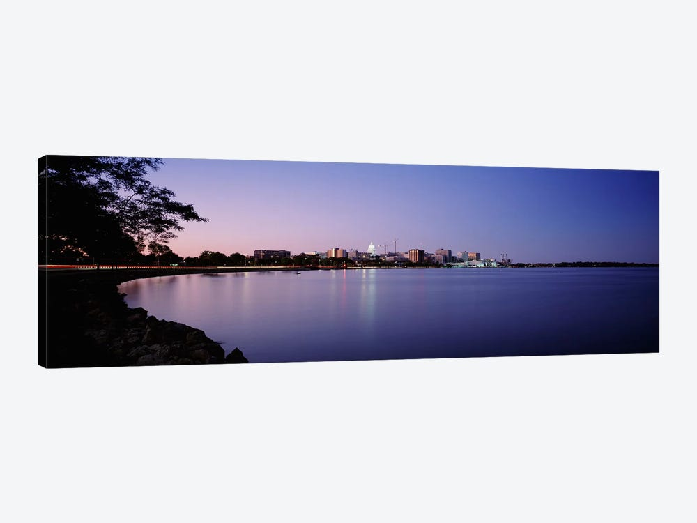 Buildings Along A Lake, Lake Monona, Madison, Wisconsin, USA by Panoramic Images 1-piece Canvas Art Print