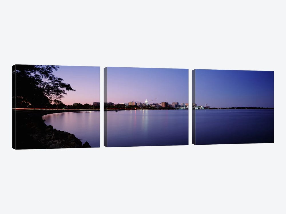 Buildings Along A Lake, Lake Monona, Madison, Wisconsin, USA by Panoramic Images 3-piece Art Print