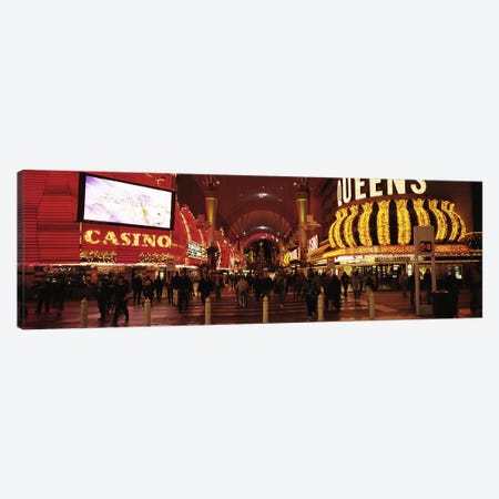 USA, Nevada, Las Vegas, The Fremont Street, Large group of people at a market street Canvas Print #PIM4697} by Panoramic Images Art Print