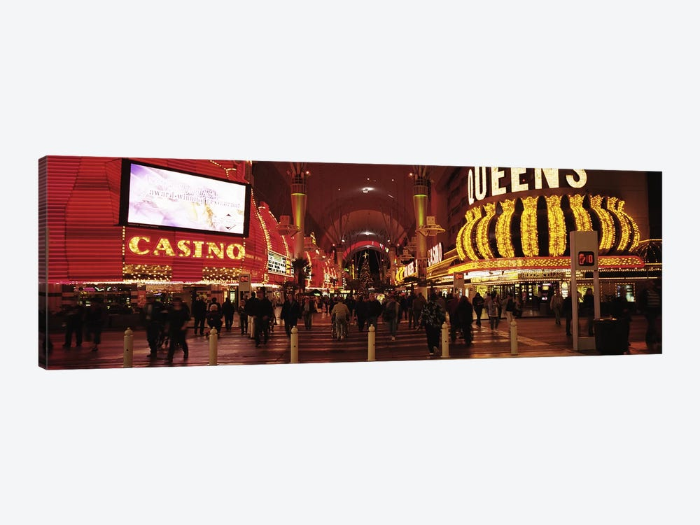 USA, Nevada, Las Vegas, The Fremont Street, Large group of people at a market street by Panoramic Images 1-piece Canvas Artwork