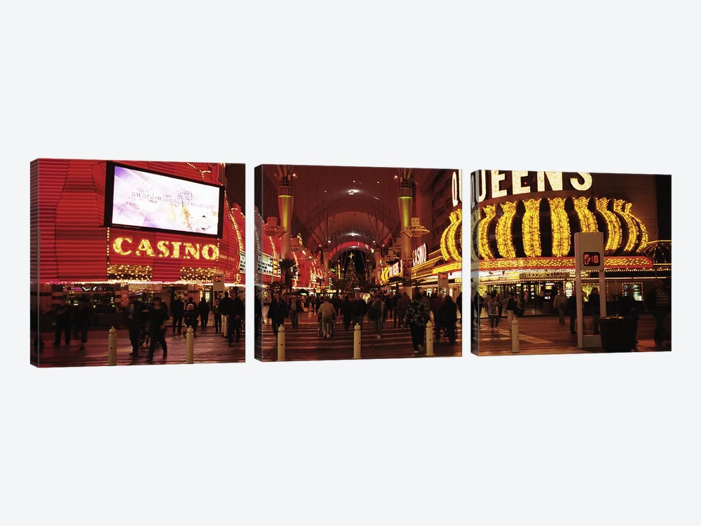 USA, Nevada, Las Vegas, The Fremont Street, Large group of people at a market street by Panoramic Images 3-piece Canvas Art