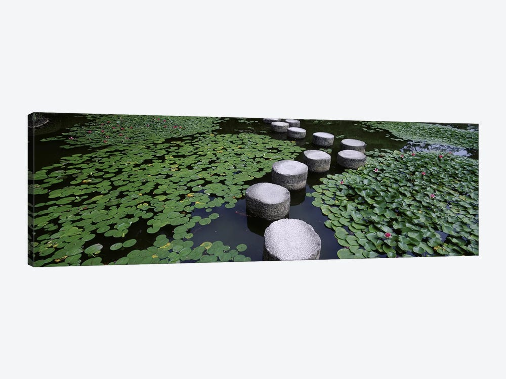 Water Lilies And Stepping Stones In A Pond, Heian Shrine, Sakyo-ku, Kyoto, Japan by Panoramic Images 1-piece Canvas Art Print