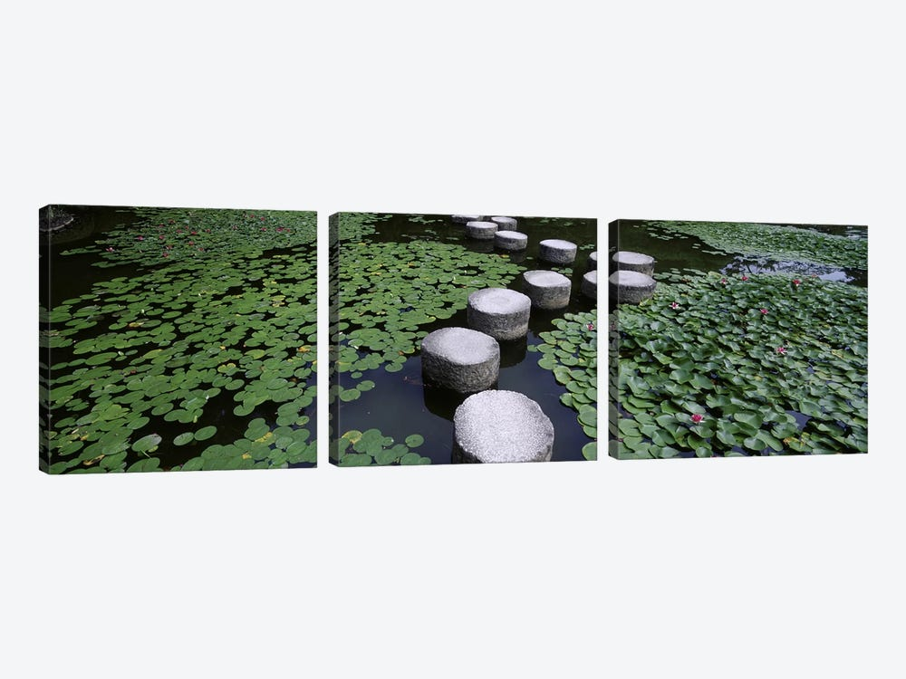 Water Lilies And Stepping Stones In A Pond, Heian Shrine, Sakyo-ku, Kyoto, Japan by Panoramic Images 3-piece Art Print