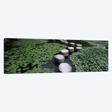 Water Lilies And Stepping Stones In A Pond, Heian Shrine, Sakyo-ku, Kyoto, Japan Canvas Print #PIM4698} by Panoramic Images Canvas Artwork