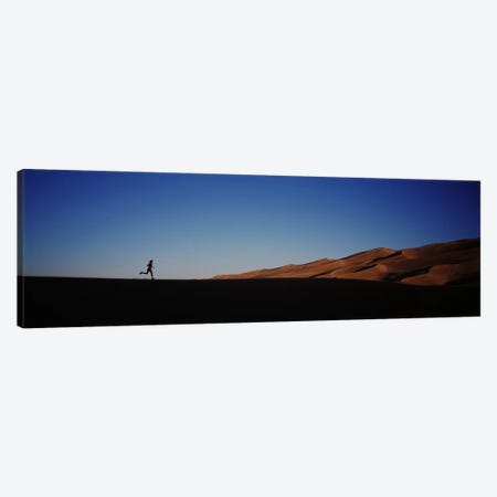 USA, Colorado, Great Sand Dunes National Monument, Runner jogging in the park Canvas Print #PIM4702} by Panoramic Images Canvas Wall Art