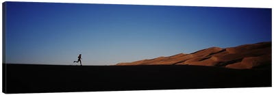 USA, Colorado, Great Sand Dunes National Monument, Runner jogging in the park Canvas Art Print