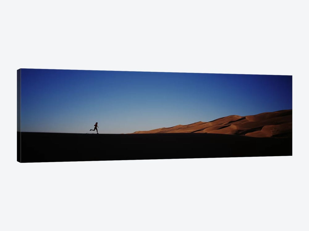 USA, Colorado, Great Sand Dunes National Monument, Runner jogging in the park by Panoramic Images 1-piece Canvas Print