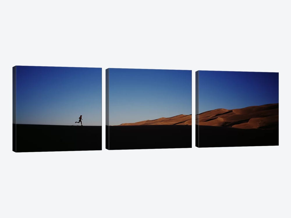 USA, Colorado, Great Sand Dunes National Monument, Runner jogging in the park by Panoramic Images 3-piece Canvas Art Print