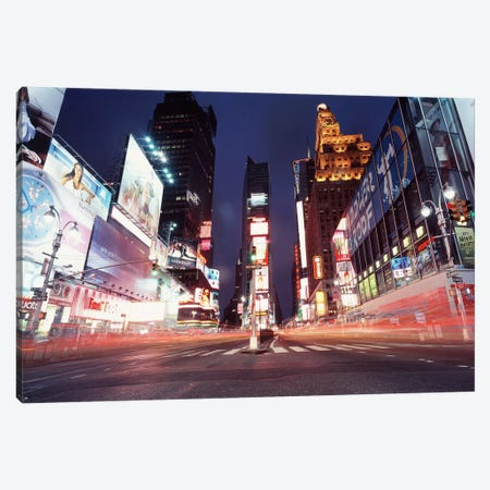 Nighttime Blurred Motion, Times Square, New York City, New York, USA Canvas Print #PIM4706} by Panoramic Images Art Print