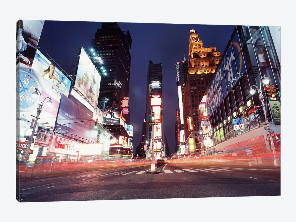 Nighttime Blurred Motion, Times Square, New York City, New York, USA by Panoramic Images 1-piece Canvas Art Print