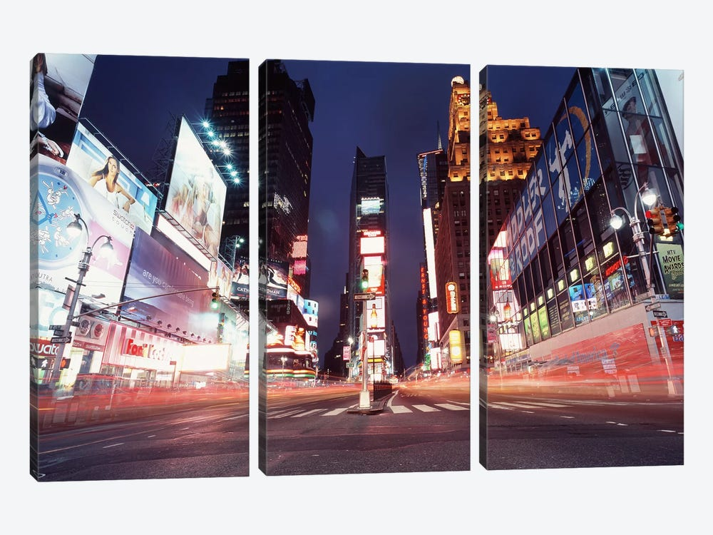 Nighttime Blurred Motion, Times Square, New York City, New York, USA by Panoramic Images 3-piece Canvas Art Print