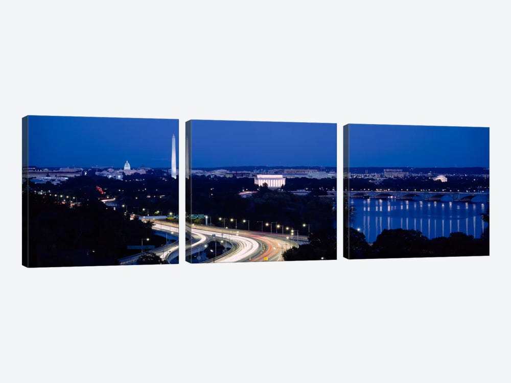 Traffic on the roadWashington Monument, Washington DC, USA by Panoramic Images 3-piece Canvas Artwork