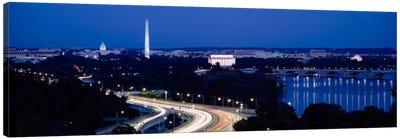 Traffic on the roadWashington Monument, Washington DC, USA Canvas Art Print
