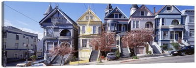 Cars Parked In Front Of Victorian Houses, San Francisco, California, USA Canvas Print #PIM4710