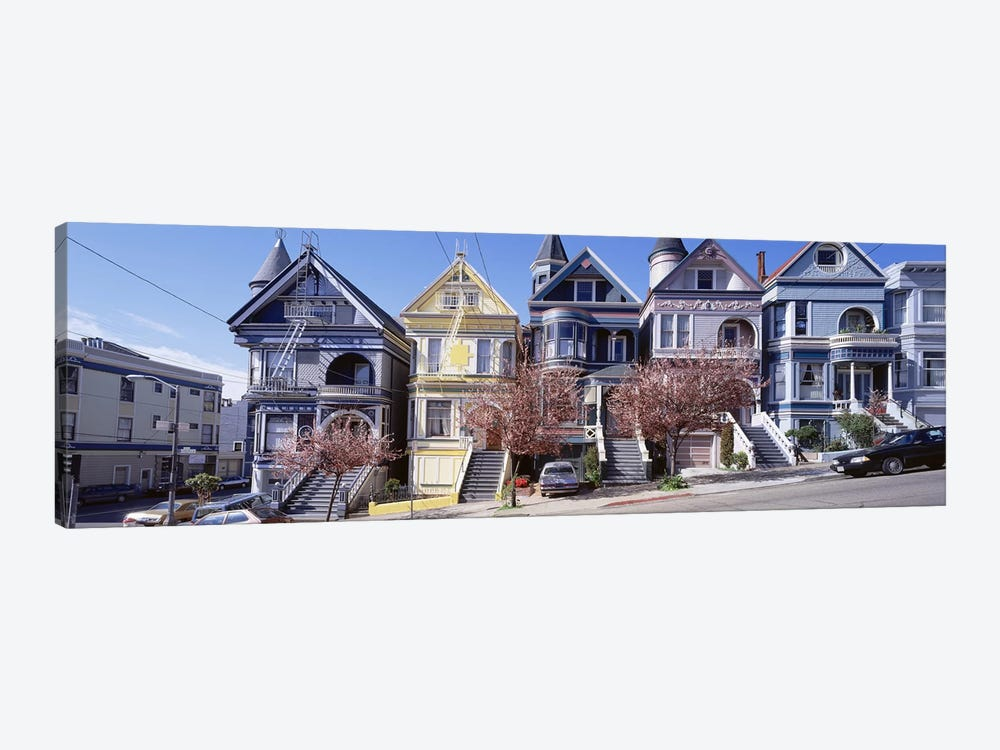 Cars Parked In Front Of Victorian Houses, San Francisco, California, USA by Panoramic Images 1-piece Canvas Wall Art