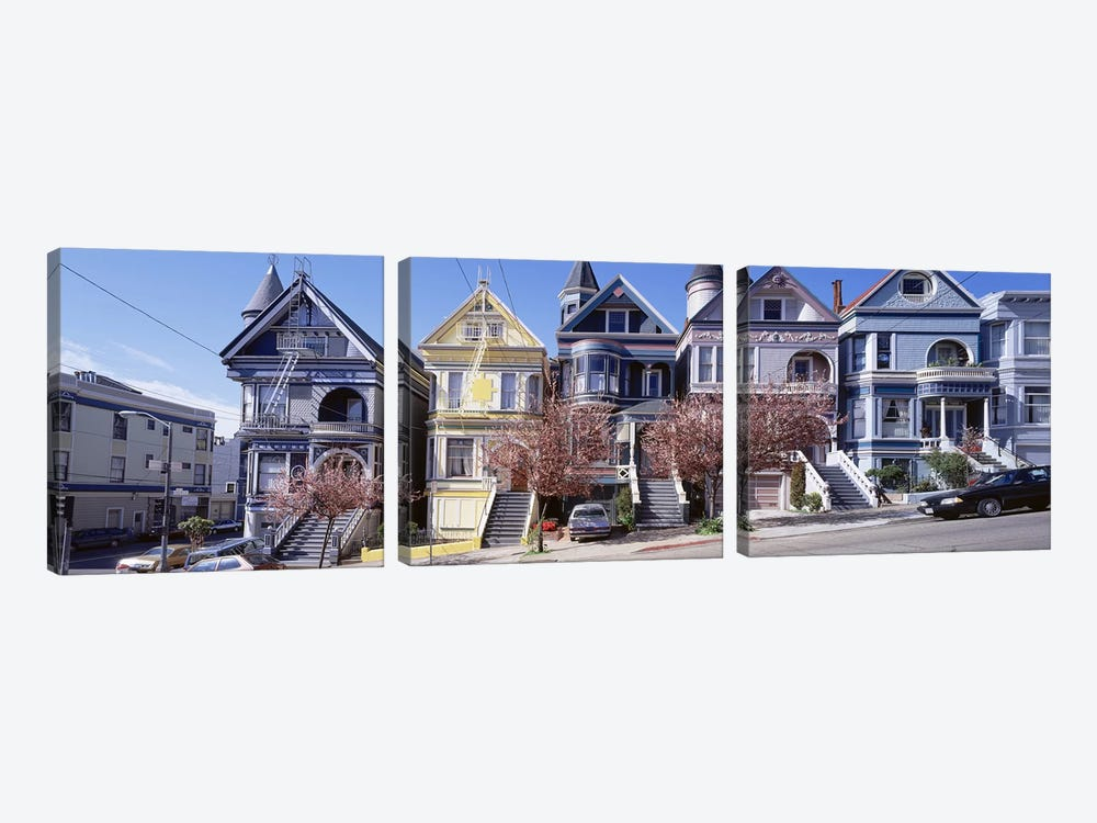 Cars Parked In Front Of Victorian Houses, San Francisco, California, USA by Panoramic Images 3-piece Canvas Artwork